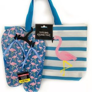 Shoes - Flamingo Tote & Flip Flops   NWT